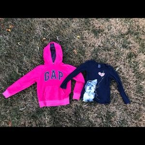 Girls Gap hoodie and long sleeve tee shirt